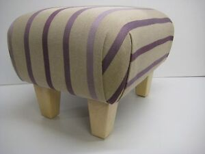 FOOTSTOOLS  IN  A LAURA ASHLEY  LUXFORD STRIPE AMETHYST  FABRIC