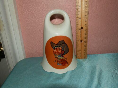 Vintage 1980 Kersten Brothers Cowboy Design Enesco Porcelain Cowbell Bell RARE