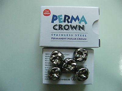 Dental Stainless Steel Permanent Molar Crown Perma Crown Refill 5pcsbox
