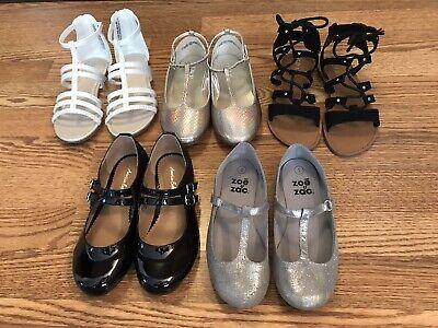 Girls Lot Size 1 Shoes Sandal White Black Gold Silver Summer Spring Dress EUC