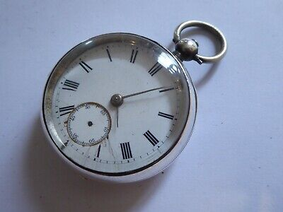 Gent's Antique 1895 Chester Silver Key Operated Mechanical Pocket Watch Plymouth