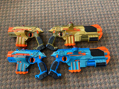 Tiger Lazer Tag Phoenix LTX Tagger 4 pack Lot Gold And Blue Guns