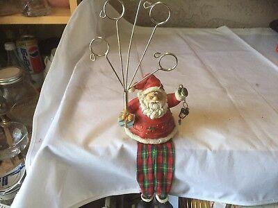 Vintage Santa Christmas Card Holder Hanging Fireplace Ledge Sitting