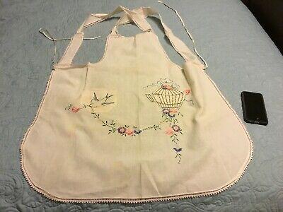 Vintage Aprons, Retro Aprons, Old Fashioned Aprons & Patterns Vintage Full Bib Apron Embroidered Bird Floral Cage Pink Lace Trim Pocket Large  $18.50 AT vintagedancer.com