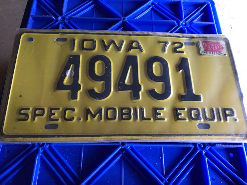 1972 Iowa License Plate 49491
