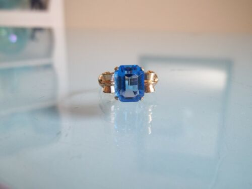 Vtg Emmons BLUE RHINESTONE Gold Plated RING 6.5 ADJUSTABLE UP