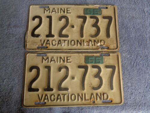 1955  U PICK ONE PAIR with tabs maine  license plate PAIR