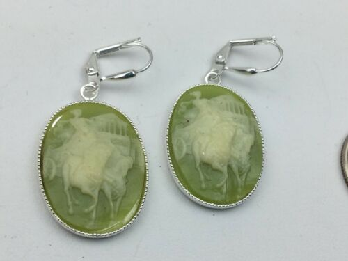 Vintage Inspired Earrings Cameo Resin Green Cream Horse Woman Parthenon Silver