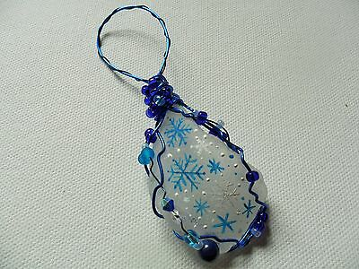 Blue white Snowflakes - Hand painted crafted sea glass Christmas tree decoration - Blue Snowflakes Decorations