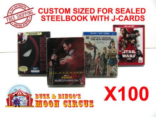 100x BLU-RAY STEELBOOK PROTECTIVE SLEEVE- BOX PROTECTORS- WITH J-CARD
