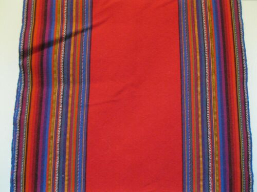 """GUATEMALA,  LONG RED COTTON RUNNER, 61""""  LONG BY  13 1/2"""" WIDE"""