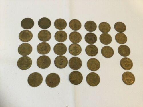 Lot of 32 Solid Brass Brothel Cat House House Tokens