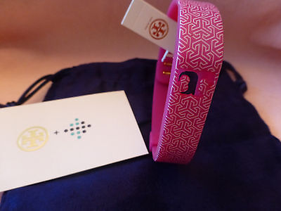 Tory Burch Fitbit Silicone Statement Bracelet Pink/White New Dust Bag Size M/L