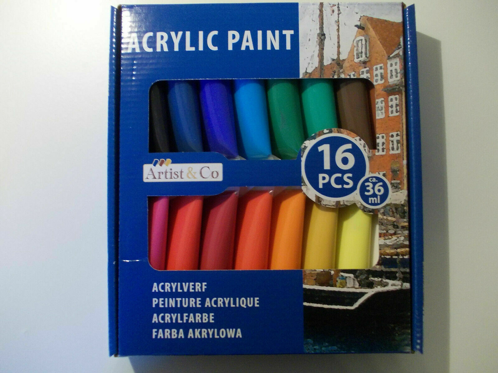 Acrylfarbe Set 16 Tuben a` 36ml Acrylfarbe  Malfarbe