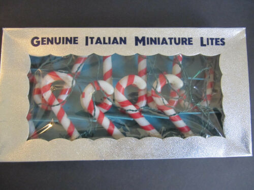 Vintage Genuine Italian Miniature CANDY CANES Christmas Lights ITALY Tested