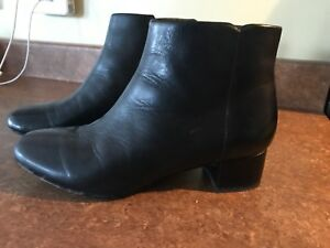 Black Clarks leather boots