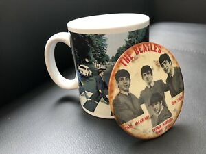 The Beatles vintage 1960's button & coffee mug collectable.