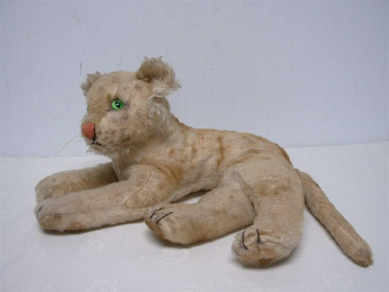 """ANTIQUE STEIFF LAYING DOWN LION ~ 14 1/2"""" WIDE x 7 1/2"""" HIGH"""