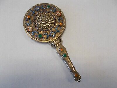 Antique  Chinese Jewel and Enamel Silver Hand Held Mirror