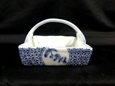 Vintage Hand Painted Blue & White Japanese Porcelain Basket  Floral Home Decor