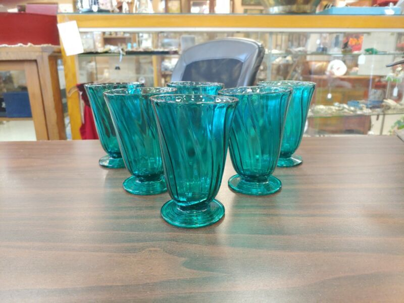 ULTRAMARINE JEANNETTE GLASS SWIRL FOOTED TUMBLER 9oz SET OF 6