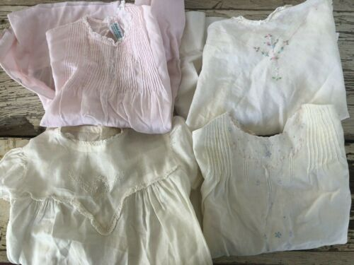 Lot of 4 VTG Baby Dresses White Pink Cotton Embroidery Tucks hand made