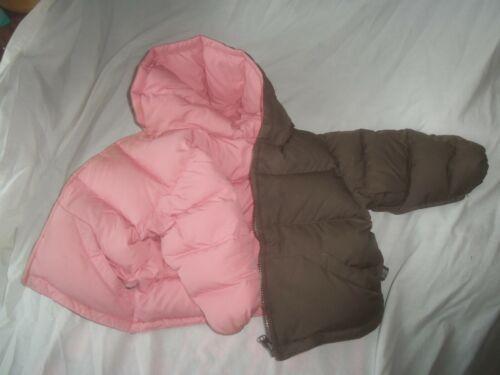 ONE KID ONEKID BROWN PINK REVERSIBLE DOWN PUFFER HOODED SNOW JACKET COAT 24M