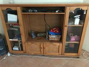 Large Wooden Entertainment Unit with Glass display cabinets. Cannon Hill Brisbane South East Preview