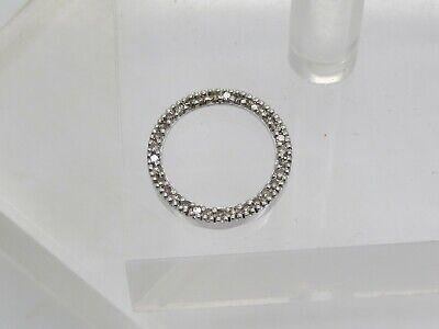 "SMALL 10k White Gold Round Diamond Eternity Circle Necklace Pendant .5"""