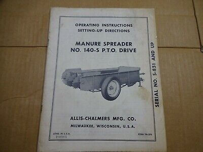 Allis Chalmers Manure Spreader 140-s Pto Drive Operators Manual Serial S-851 Up