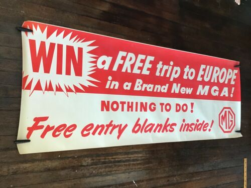 1960s  British MG window trim poster,  Win a trip  size 36  1/2 by 95 inches.
