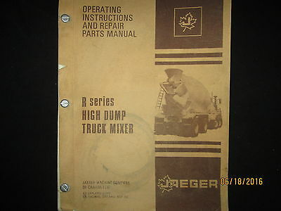 Jaeger Cement Truck R Series Mixer Operating Instructions Repair Parts Manual