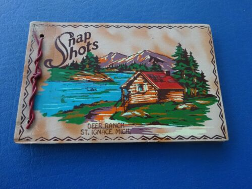 Vintage Snap Shot Souvenir Book from Deer Ranch, St Ignace, Mi