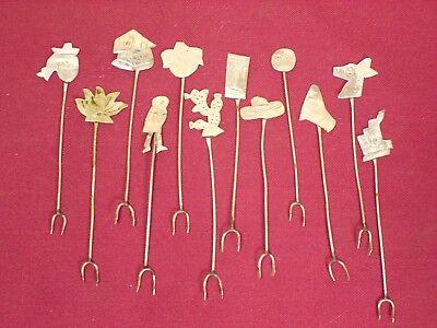 Vintage set 12 Mexican Silver Figural Hors doeuvres Cocktail Forks Olive Picks Cocktails, Hors Doeuvres