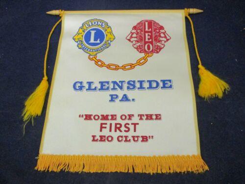 Vintage Lions Club Banner Flag Glenside Pennsylvania First Leo Club