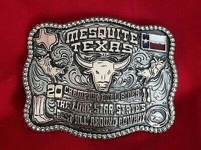 2011 RODEO TROPHY BELT BUCKLE~MESQUITE TEXAS BULL RIDING CHAMPION VINTAGE 87