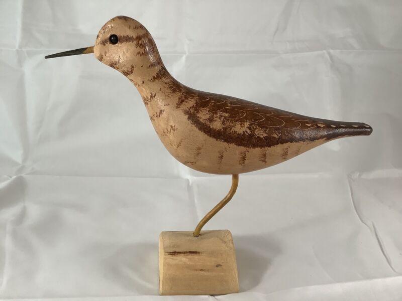 Vintage Signed Jim & Pat Slack Hand Made Carved Wooden Bird Upland Sandpiper