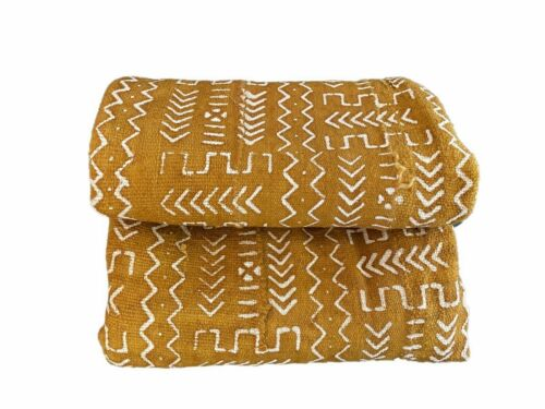 """African Bogolan Textile Mud Cloth  White  & Mustard  43"""" by 65"""""""