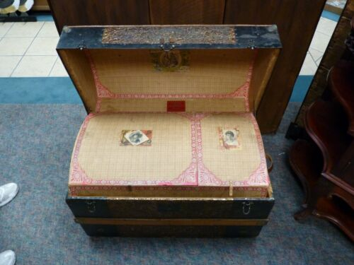 ANTIQUE J R HUGHES STEAMER TRUNK VICTORIAN DOME TOP WEDDING BRIDES CHEST W/TRAY
