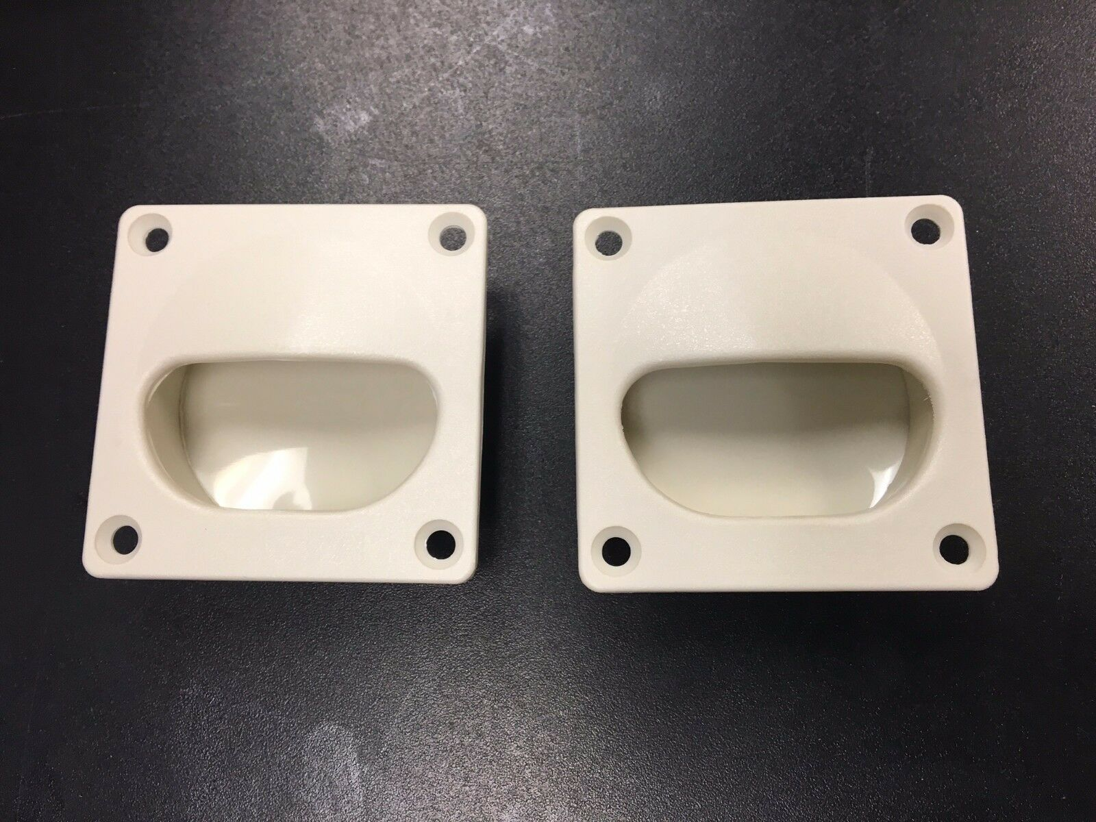 1 PAIR White Flush Mount Drawer Pull #81390-W  Molded in Textured ABS Plastic
