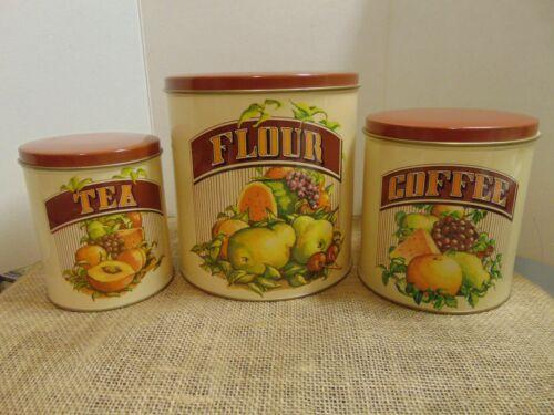 Vtg Cheinco Canister Set - Flour, Coffee, Tea - Features Fruit Vtg 1982 Chein