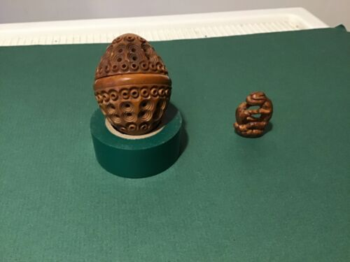 Antique Sewing  Coquilla Nut Carved Egg/Thimble/Trinket Case + found carving