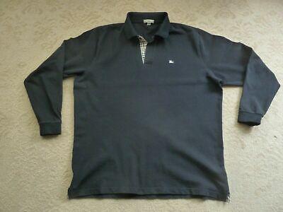 Burberry Brit London LS Long Sleeve Polo Shirt L Black Large Mens Nova (Burberry Mens Polo)