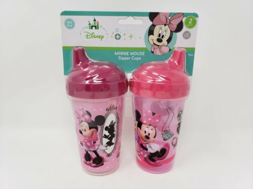 Disney 2 Pack 10 oz. Minnie Mouse Spill Proof Sipper Cups - New