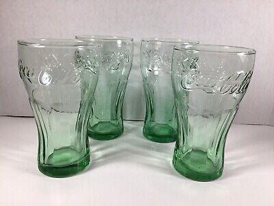 Set of 4 Vintage Libbey 16 oz Green Coca Cola Coke Drinking Glasses Tumblers
