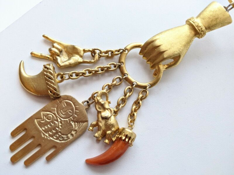 Vintage Gold Plated Egyptian Hand Holding Hamsa Elephant 5 Charm Collar Necklace