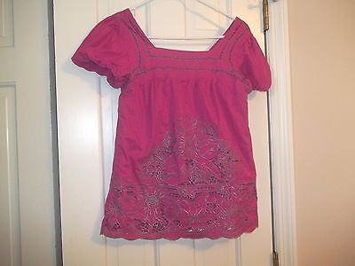 Cap Sleeve Junior Baby Doll - AZETHAZ BAZE JUNIORS SIZE XS PULLOVER SHIRT CAP SLEEVES EMBROIDERY BABY DOLL TOP