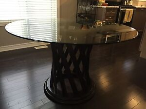 Dark Wood Dining Table with Round Glass Top