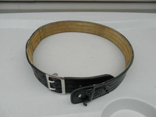 "Safariland Model 87 Black Leather Duty Belt Size 38  2 1/4"" Wide Suede Lined use"