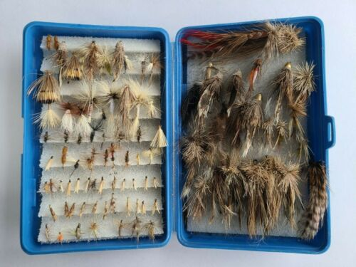 Assorted Variety Used Fly Fishing Flies in Case (About 100 Flies) Estate Rescue